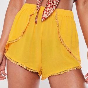 Crochet Hem Floaty Shorts